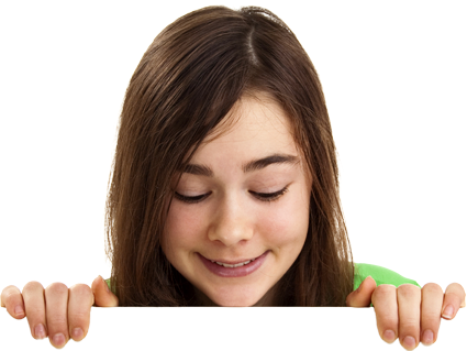 Girl peeking over the top of the content
