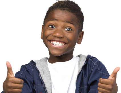 Child with thumbs up, smiling